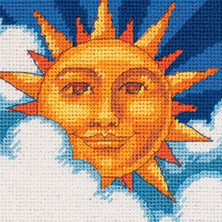 "Celestial Sun Mini Needlepoint Kit-5""X5"" Stitched In Floss"