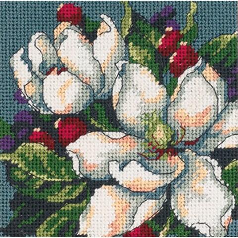 "Magnolia Mini Needlepoint Kit-5""X5"" Stitched In Floss"