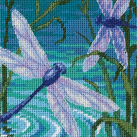 """Dragonfly Pair Mini Needlepoint Kit-5""""X5"""" Stitched In Thread & Ribbon"""