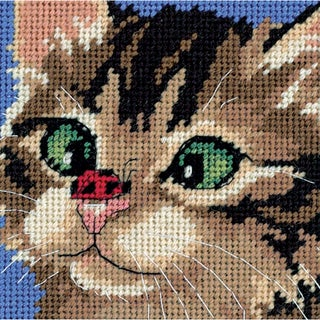 "Cross-Eyed Kitty Mini Needlepoint Kit-5""X5"" Stitched In Yarn & Thread"
