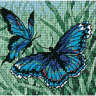 """Butterfly Duo Mini Needlepoint Kit-5""""X5"""" Stitched In Thread"""