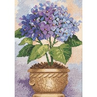 """Gold Collection Petite Hydrangea In Bloom Counted Cross Stit-5""""X7"""""""