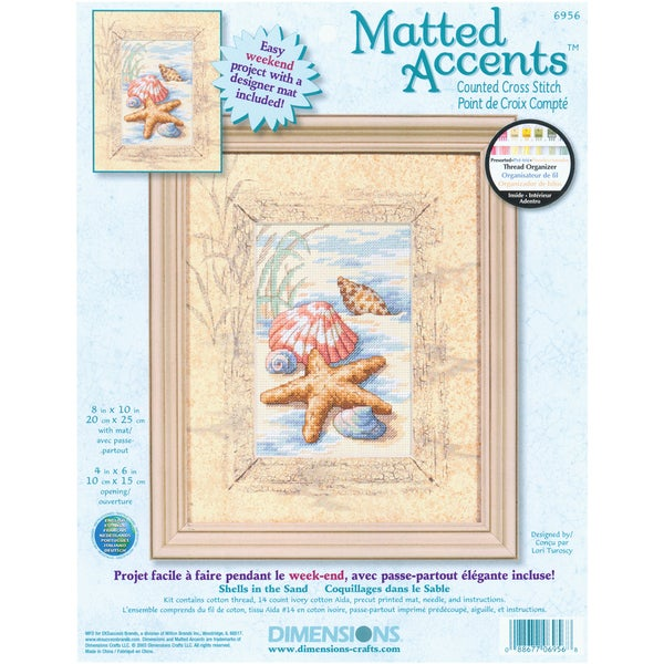 """Matted Accents Shells In The Sand Counted Cross Stitch Kit-8""""X10"""" Mat, 4""""X6"""" Opening"""