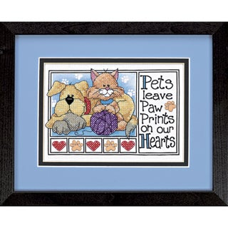 "Paw Prints Mini Stamped Cross Stitch Kit-7""X5"""