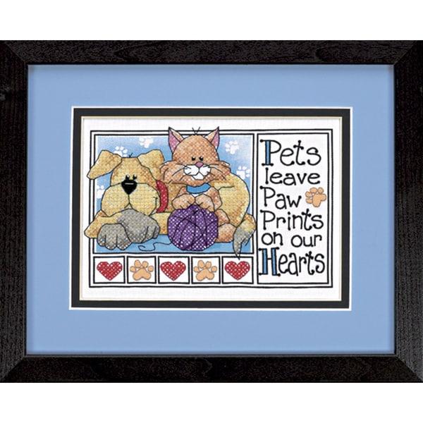 """Paw Prints Mini Stamped Cross Stitch Kit-7""""X5"""""""