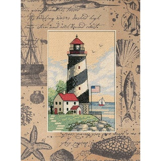 """Matted Accents Light At Sea Counted Cross Stitch Kit-8""""X10"""" Mat, 4""""X6"""" Opening"""