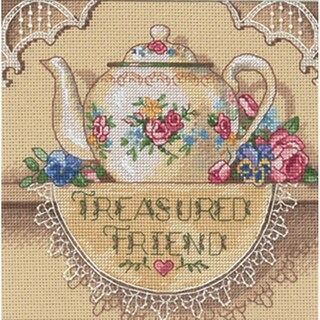 """Gold Collection Petite Treasured Friend Teapot Counted Cros-6""""X6"""""""