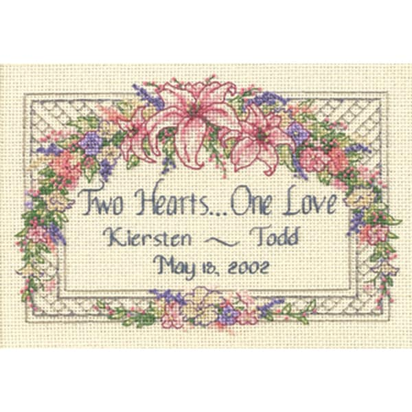 "One Love Wedding Record Mini Counted Cross Stitch Kit-7""X5"""