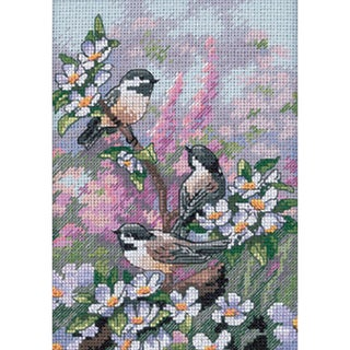 "Gold Collection Petite Chickadees In Spring Counted Cross St-5""X7"""