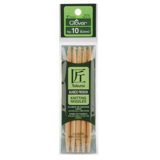 "Bamboo Double Point Knitting Needles 5"" 5/Pkg-Size 10"