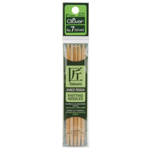 "Bamboo Double Point Knitting Needles 5"" 5/Pkg-Size 7"