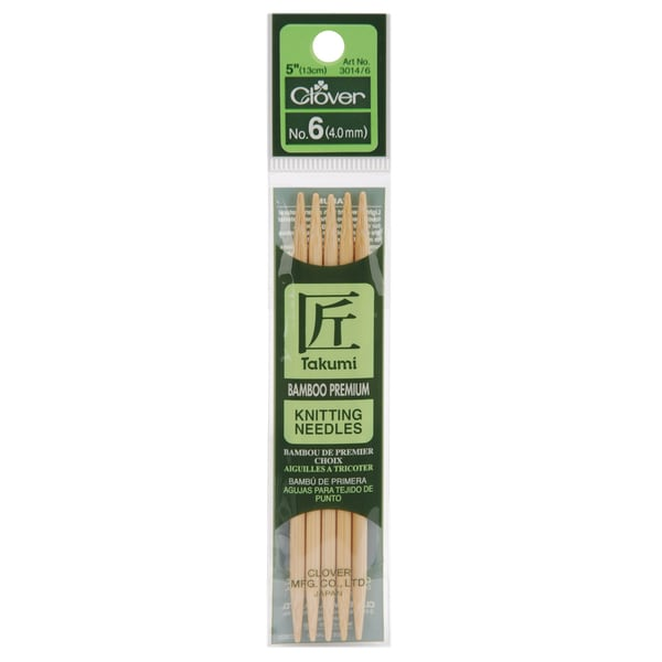 "Bamboo Double Point Knitting Needles 5"" 5/Pkg-Size 6"
