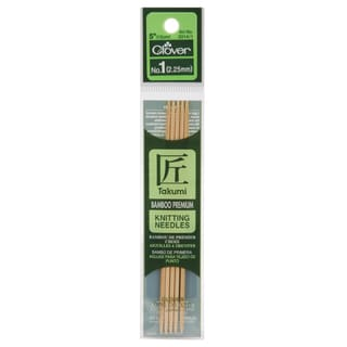 "Bamboo Double Point Knitting Needles 5"" 5/Pkg-Size 1"