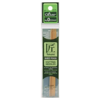 "Bamboo Double Point Knitting Needles 5"" 5/Pkg-Size 0"
