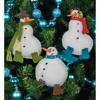 "Simple Snowmen Ornaments Felt Applique Kit-3""X4"" Set Of 3"