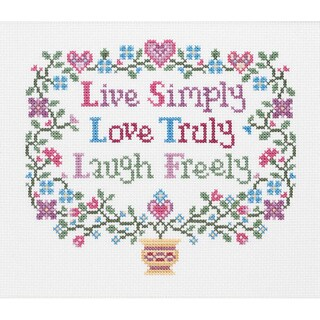 """Live, Love, Laugh Counted Cross Stitch Kit-8""""X7"""" 14 Count"""