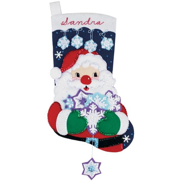 "Santa's Snowflake Collection Stocking Felt Applique Kit-18"" Long"