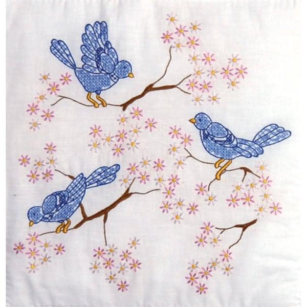 """Stamped White Quilt Blocks 18""""X18"""" 6/Pkg-Blue Birds"""