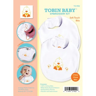 Tobin Baby Duck Soft Touch Bibs Embroidery Kit-Set Of 2