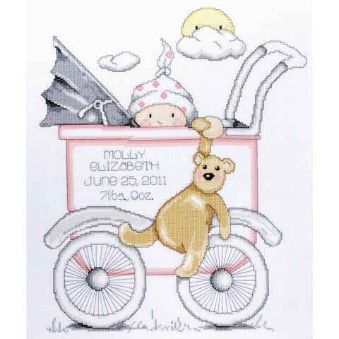 """Baby Buggy Girl Birth Record Counted Cross Stitch Kit-13""""X15"""" 14 Count"""