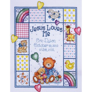 "Jesus Loves Me Sampler Counted Cross Stitch Kit-11""X14"" 14 Count"