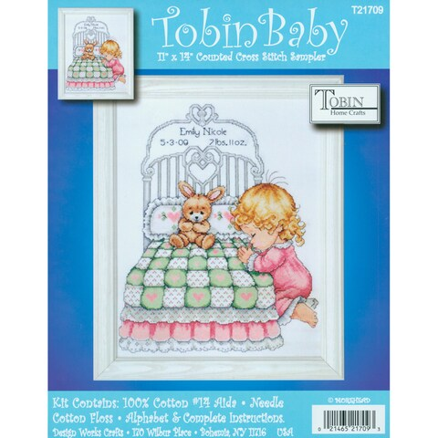 """Bedtime Prayer Girl Birth Record Counted Cross Stitch Kit-11""""X14"""" 14 Count"""