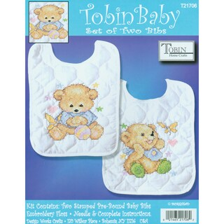 "Baby Bears Bib Pair Stamped Cross Stitch Kit-8""X10"" Set Of 2"