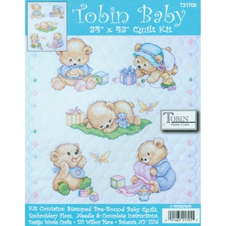 """Baby Bears Quilt Stamped Cross Stitch Kit-34""""X43"""""""