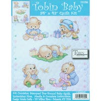 "Baby Bears Quilt Stamped Cross Stitch Kit-34""X43"""