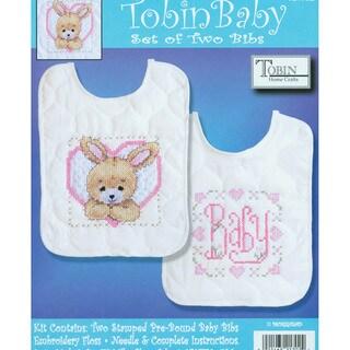 "Bedtime Prayer Girl Bib Pair Stamped Cross Stitch Kit-8""X10"" Set Of 2"
