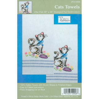 Tobin Stamped Woven Cotton Kitchen Towels For Embroidery - Cats