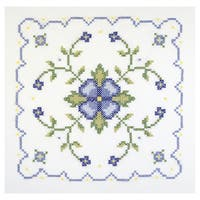 Blue And Yellow Geometric Quilt Blocks Stamped Cross Stitch