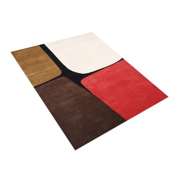 Alliyah Handmade Leather Brown Wool New Zealand Blend Wool Rug (8' x 10')