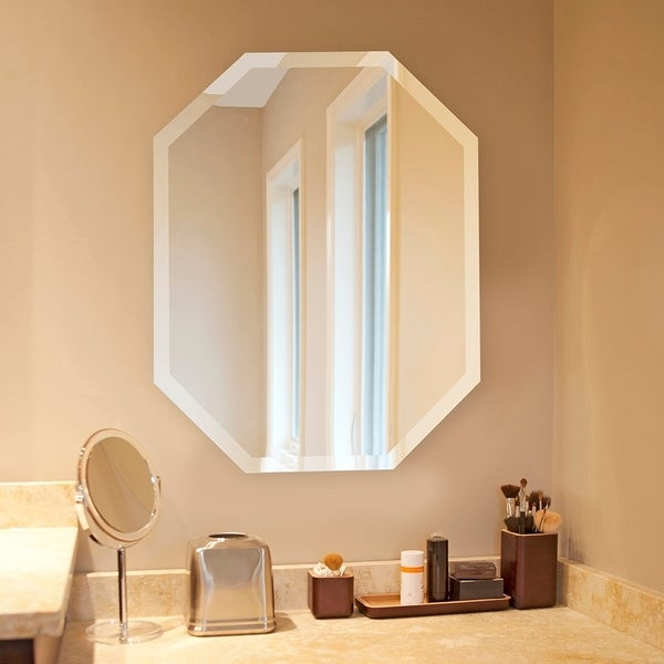 Frameless Beveled Octagonal Wall Mirror - 22 x 28. Opens flyout.