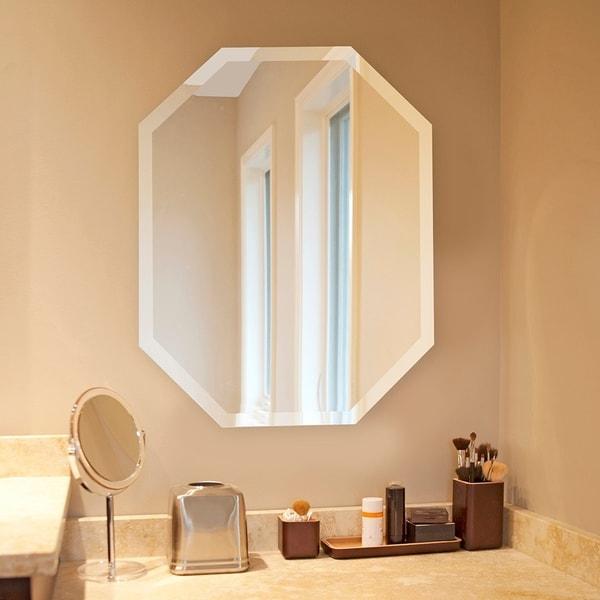 Frameless Beveled Octagonal Mirror Silver