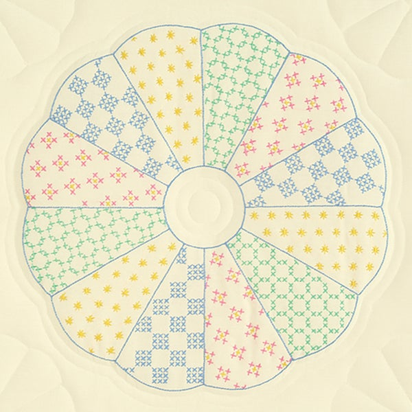 "Stamped Ecru Quilt Blocks 18""X18"" 6/Pkg-Interlocking Dresden Circle"