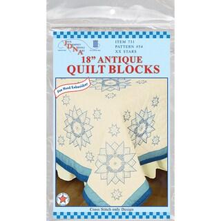"Stamped Ecru Quilt Blocks 18""X18"" 6/Pkg-Stars"