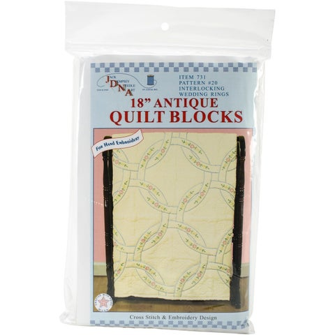 "Stamped Ecru Quilt Blocks 18""X18"" 6/Pkg-Interlocking Wedding Rings"