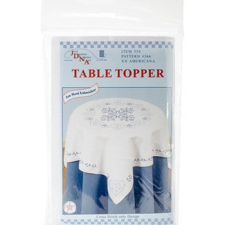 "Stamped White Perle Edge Table Topper 35""X35""-XX Americana"
