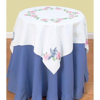 "Stamped White Perle Edge Table Topper 35""X35""-Birds"