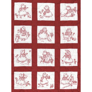 "Stamped White Nursery Quilt Blocks 9""X9"" 12/Pkg-Sunbonnet Girls"