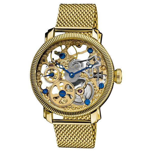 Akribos XXIV Men's Stainless Mechanical Skeleton Gold-Tone Mesh Bracelet Watch