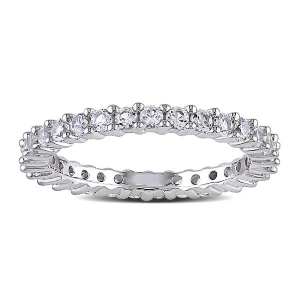 Miadora 10k White Gold 1-1/8ct TGW Created White Sapphire Eternity Ring