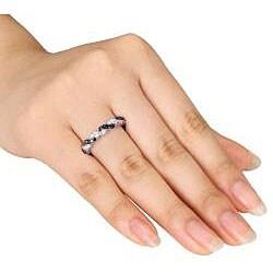Miadora 14k White Gold 3/4ct TDW Black and White Diamond Ring (G-H, SI1-SI2) (Size 7)