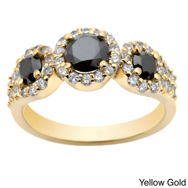 Auriya 14k Gold 1 1/5ct TDW Round Black Diamond Ring