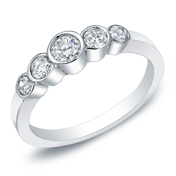 Auriya 14k Gold 1/2ctw 5-Stone Diamond Wedding Band