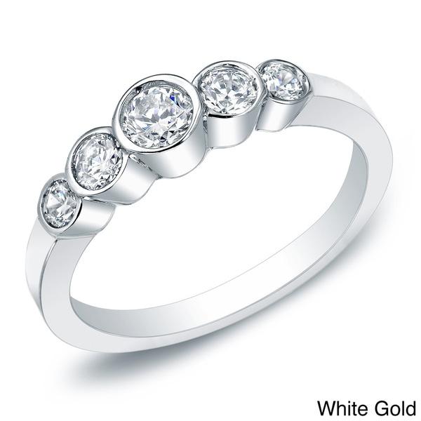 Auriya 14k Gold 1/2ct TDW Five-stone Bezel Diamond Ring (H-I, I1-12)