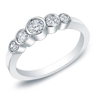 14k Gold 1/2ct TDW Stackable 5-Stone Bezel Diamond Wedding Band by Auriya