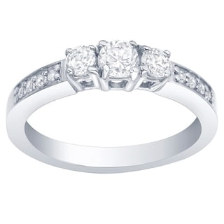 Auriya 10k Gold 1/2ct TDW 3-Stone Round Diamond Ring
