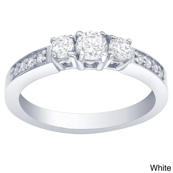 Auriya  10k Gold 1/2ct TDW 3-Stone Round Diamond Ring (I-J, I1-I2)